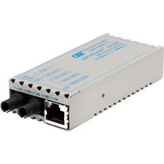 Omnitron miConverter Miniature UTP to 100 Fiber Media Converter - 1 x RJ-45 , 1 x ST Duplex - 10/100Base-TX, 100Base-FX