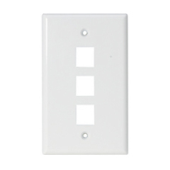 Steren 3 Socket Keystone Faceplate - White