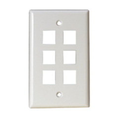 Steren 6 Socket Keystone Faceplate - White