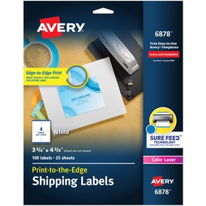"Etiqueta de envío Avery - 3,75"" Ancho x 4,75"" Longitud - 100 / Paquete AVE6878"