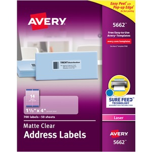 avery matte clear easy peel address labels ave5662
