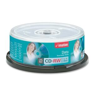 Imation CD Rewritable Media - CD-RW - 4x - 700 MB - 25 Pack Spindle - Retail IMN41149