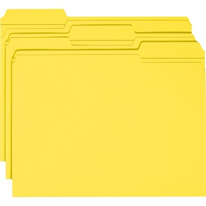 Smead 12934 Yellow Colored File Folders with Reinforced Tab SMD12934