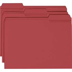 Smead 13084 Maroon Colored File Folders with Reinforced Tab SMD13084