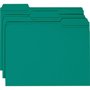 Smead 13134 Teal Colored File Folders with Reinforced Tab SMD13134