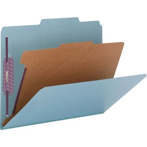 Smead 13730 Blue Colored Pressboard Classification Folders with SafeSHIELD Fasteners SMD13730