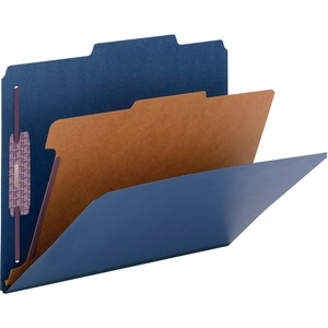 Smead 13732 Dark Blue Colored Pressboard Classification Folders with SafeSHIELD Fasteners SMD13732