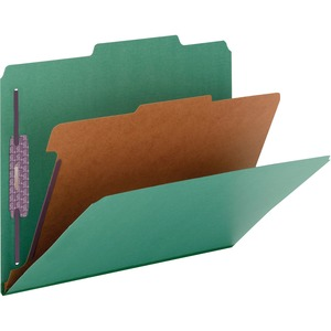 Smead 13733 Green Colored Pressboard Classification Folders with SafeSHIELD Fasteners SMD13733