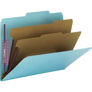 Smead 14030 Blue Colored Pressboard Classification Folders with SafeSHIELD Fasteners SMD14030