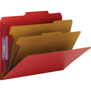 Smead 14031 Bright Red Colored Pressboard Classification Folders with SafeSHIELD Fasteners SMD14031