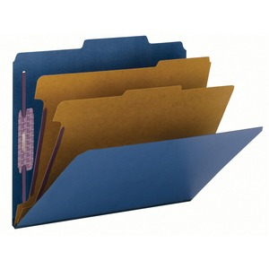 Smead 14032 Dark Blue Colored Pressboard Classification Folders with SafeSHIELD Fasteners SMD14032