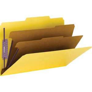 Smead 14034 Yellow Colored Pressboard Classification Folders with SafeSHIELD Fasteners SMD14034