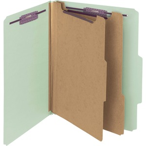Smead 14076 Gray/Green Pressboard Classification Folder with SafeSHIELD Fasteners SMD14076