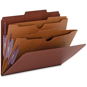 Smead 14079 Red Pressboard Classification Folders with Pocket-Style Dividers and SafeSHIELD Fasteners SMD14079