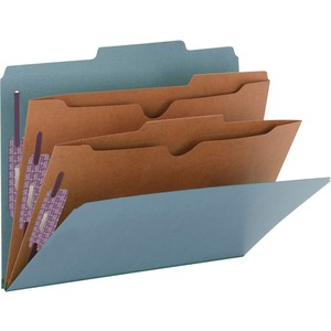 Smead 14081 Blue Pressboard Classification Folders with Pocket-Style Dividers and SafeSHIELD Fasteners SMD14081
