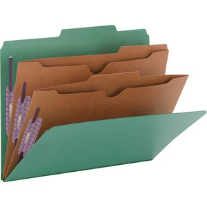 Smead 14083 Green Pressboard Classification Folders with Pocket-Style Dividers and SafeSHIELD Fasteners SMD14083