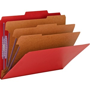 Smead 14095 Bright Red Colored Pressboard Classification Folders with SafeSHIELD Fasteners SMD14095