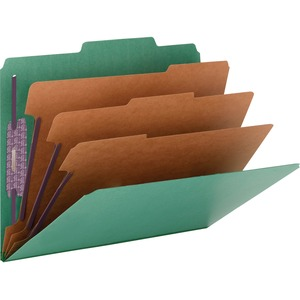 Smead 14097 Green Colored Pressboard Classification Folders with SafeSHIELD Fasteners SMD14097