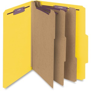 Smead 14098 Yellow Colored Pressboard Classification Folders with SafeSHIELD Fasteners SMD14098