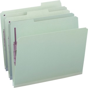 Smead 14931 Gray/Green Pressboard Fastener File Folders with SafeSHIELD Fasteners SMD14931