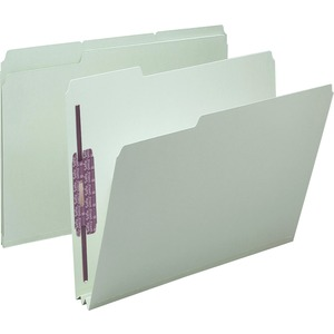 Smead 14934 Gray/Green Pressboard Fastener File Folders with SafeSHIELD Fasteners SMD14934