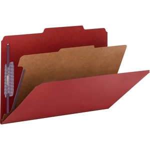 Smead 18731 Bright Red Colored Pressboard Classification Folders with SafeSHIELD Fasteners SMD18731