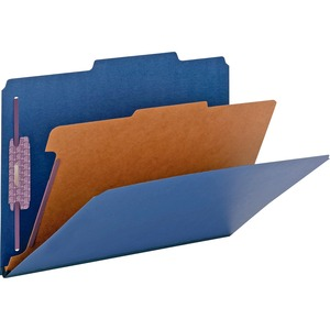 Smead 18732 Dark Blue Colored Pressboard Classification Folders with SafeSHIELD Fasteners SMD18732