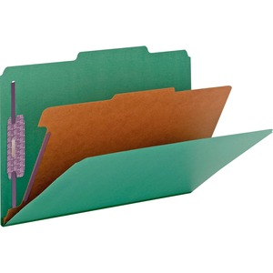 Smead 18733 Green Colored Pressboard Classification Folders with SafeSHIELD Fasteners SMD18733