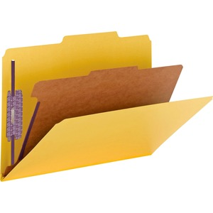Smead 18734 Yellow Colored Pressboard Classification Folders with SafeSHIELD Fasteners SMD18734
