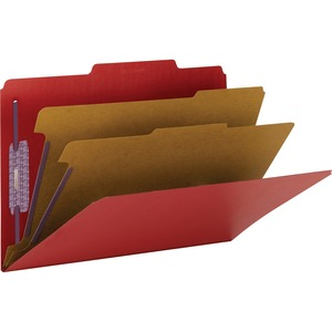 Smead 19031 Bright Red Colored Pressboard Classification Folders with SafeSHIELD Fasteners SMD19031