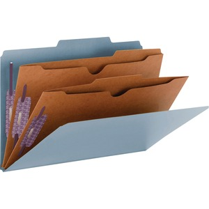 Smead 19081 Blue Pressboard Classification Folders with Pocket-Style Dividers and SafeSHIELD Fasteners SMD19081