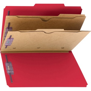 Smead 19082 Bright Red Pressboard Classification Folders with Pocket-Style Dividers and SafeSHIELD Fasteners SMD19082