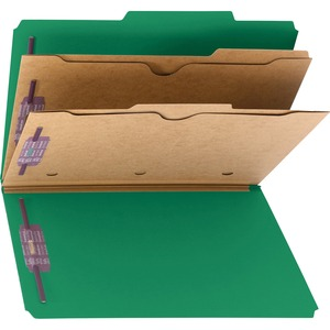 Smead 19083 Green Pressboard Classification Folders with Pocket-Style Dividers and SafeSHIELD Fasteners SMD19083