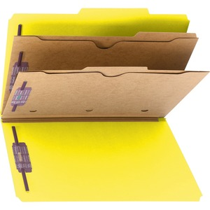 Smead 19084 Yellow Pressboard Classification Folders with Pocket-Style Dividers and SafeSHIELD Fasteners SMD19084