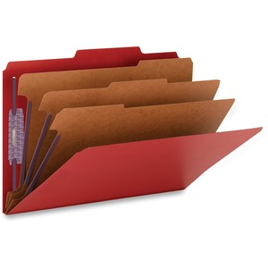Smead 19095 Bright Red Colored Pressboard Classification Folders with SafeSHIELD Fasteners SMD19095