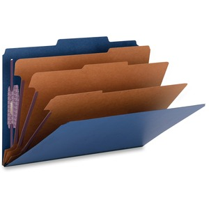 Smead 19096 Dark Blue Colored Pressboard Classification Folders with SafeSHIELD Fasteners SMD19096