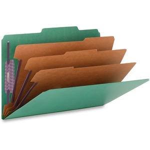 Smead 19097 Green Colored Pressboard Classification Folders with SafeSHIELD Fasteners SMD19097
