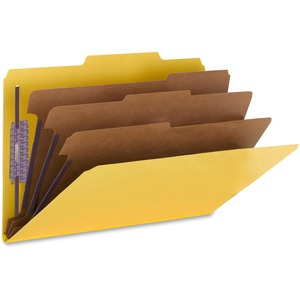 Smead 19098 Yellow Colored Pressboard Classification Folders with SafeSHIELD Fasteners SMD19098