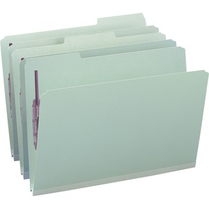 Smead 19931 Gray/Green Pressboard Fastener File Folders with SafeSHIELD Fasteners SMD19931