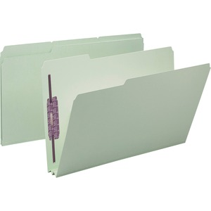 Smead 19934 Gray/Green Pressboard Fastener File Folders with SafeSHIELD Fasteners SMD19934