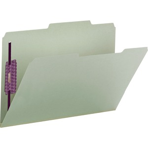 Smead 19982 Gray/Green Pressboard Fastener File Folders with SafeSHIELD Fasteners SMD19982