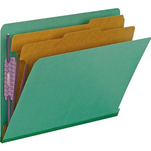Smead 26785 Green End Tab Pressboard Classification Folders with SafeSHIELD Fasteners SMD26785