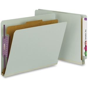 Smead 26800 Gray/Green End Tab Pressboard Classification Folders with SafeSHIELD Fasteners SMD26800