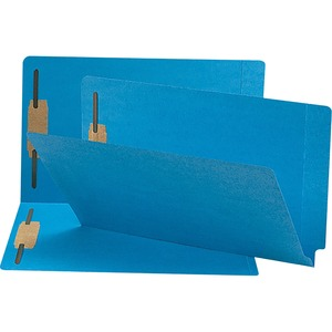 Smead 28040 Blue End Tab Colored Fastener File Folders with Reinforced Tab SMD28040