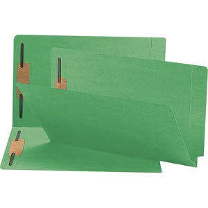 Smead 28140 Green End Tab Colored Fastener File Folders with Reinforced Tab SMD28140
