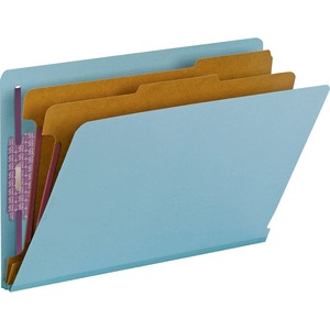 Smead 29781 Blue End Tab Pressboard Classification Folders with SafeSHIELD Fasteners SMD29781