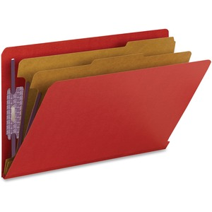 Smead 29783 Bright Red End Tab Pressboard Classification Folders with SafeSHIELD Fasteners SMD29783
