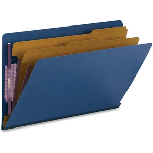 Smead 29784 Dark Blue End Tab Pressboard Classification Folders with SafeSHIELD Fasteners SMD29784