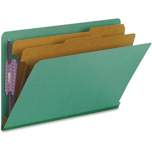 Smead 29785 Green End Tab Pressboard Classification Folders with SafeSHIELD Fasteners SMD29785