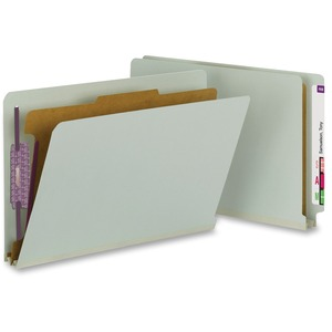 Smead 29800 Gray/Green End Tab Pressboard Classification Folders with SafeSHIELD Fasteners SMD29800